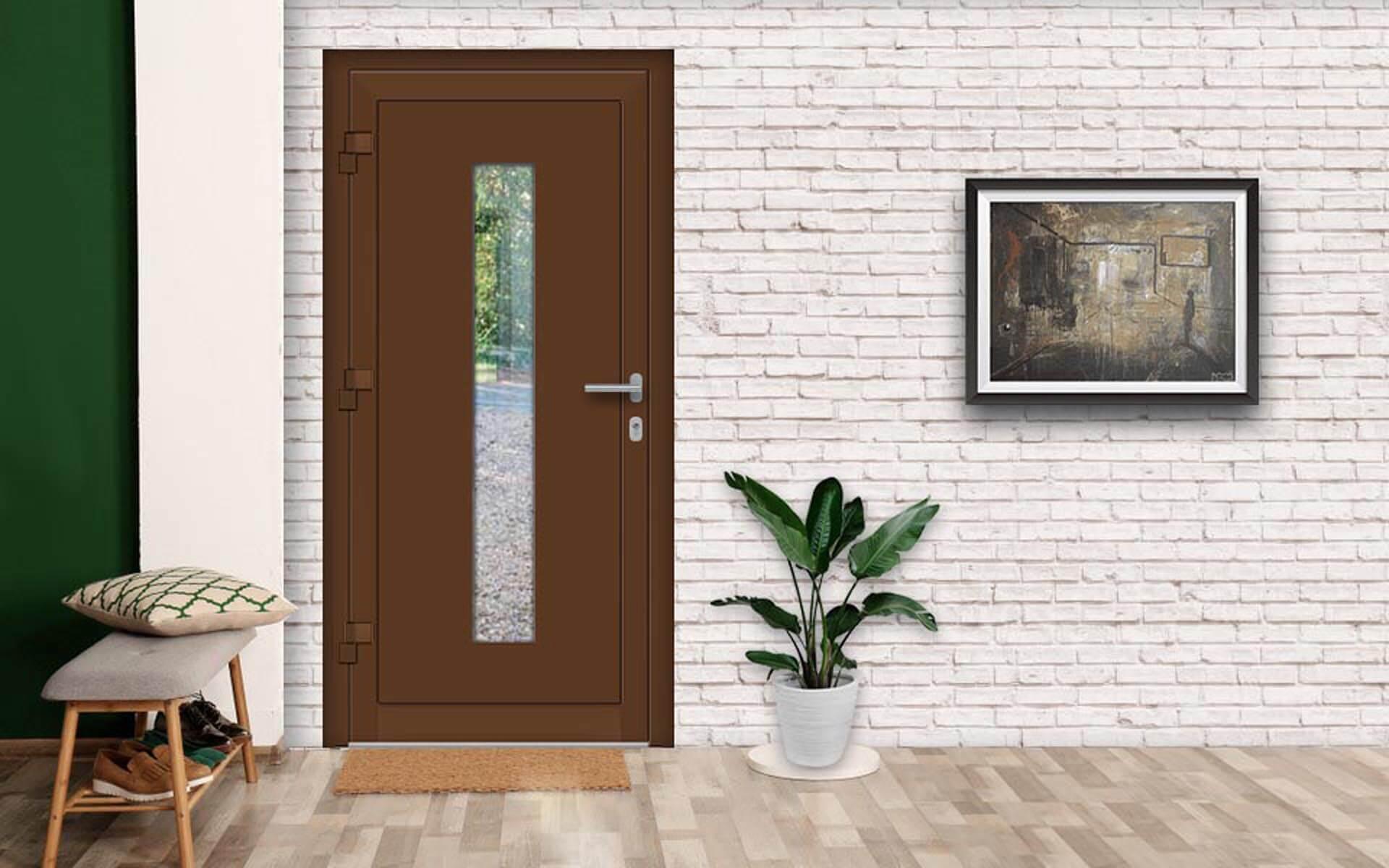 Ako zladiť dvere, okná a podlahu? Vchodové dvere AV-177 vo farbe RAL 8011 oriešková hnedá
