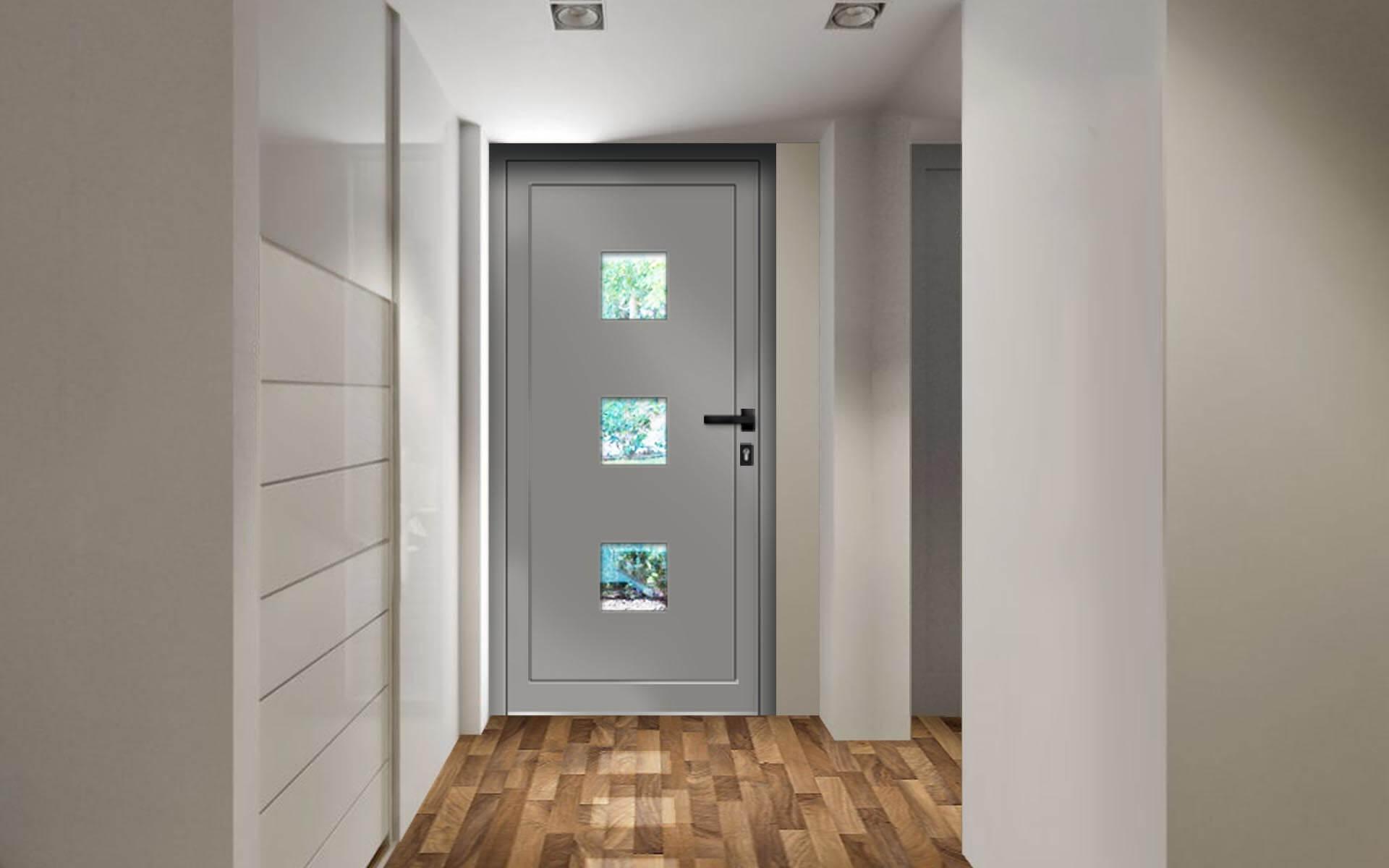 Ako zladiť dvere, okná a podlahu? Vchodové dvere AV-244 vo farbe RAL 9007 šedá