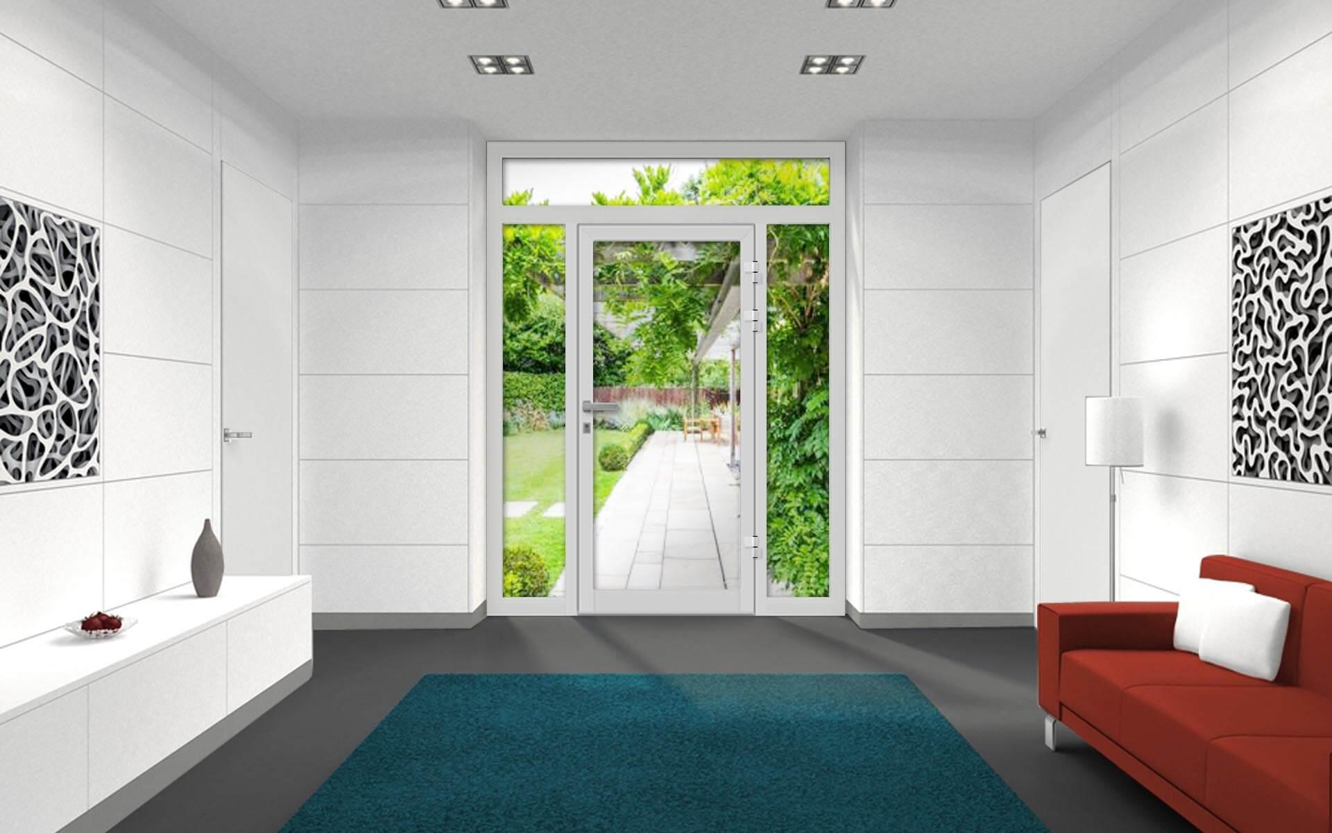 Ako zladiť dvere, okná a podlahu? Vchodové dvere VV-850-GL1 vo farbe RAL 9016 biela