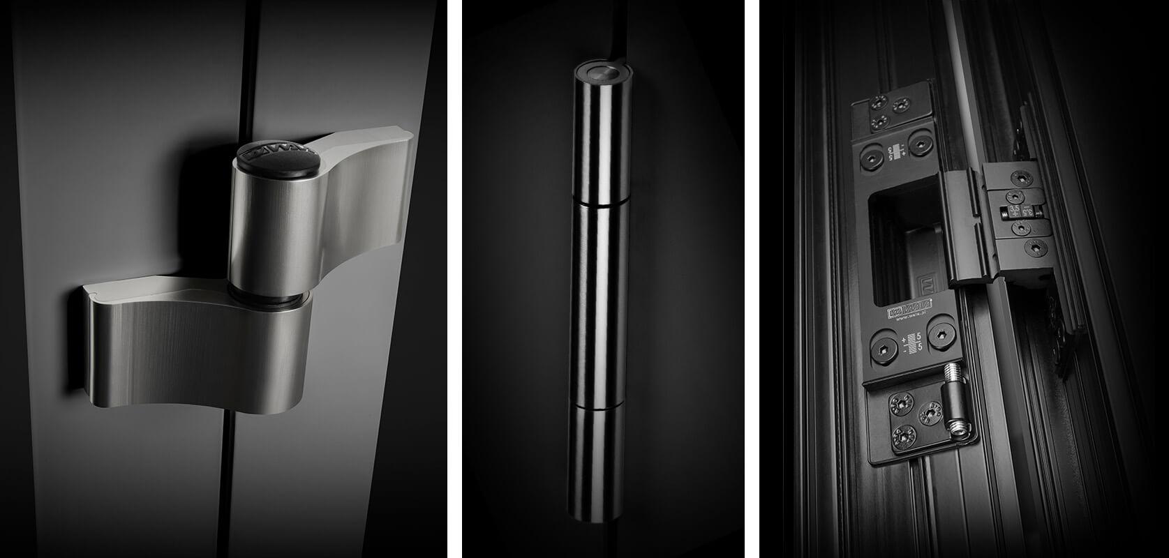 Krídelkové, valčekové a skryté pánty (závesy) pre hliníkové vchodové dvere do domu | Luglass.sk