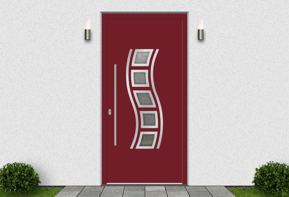 Hliníkové vchodové dvere vo farbe purpurová červená RAL 3004