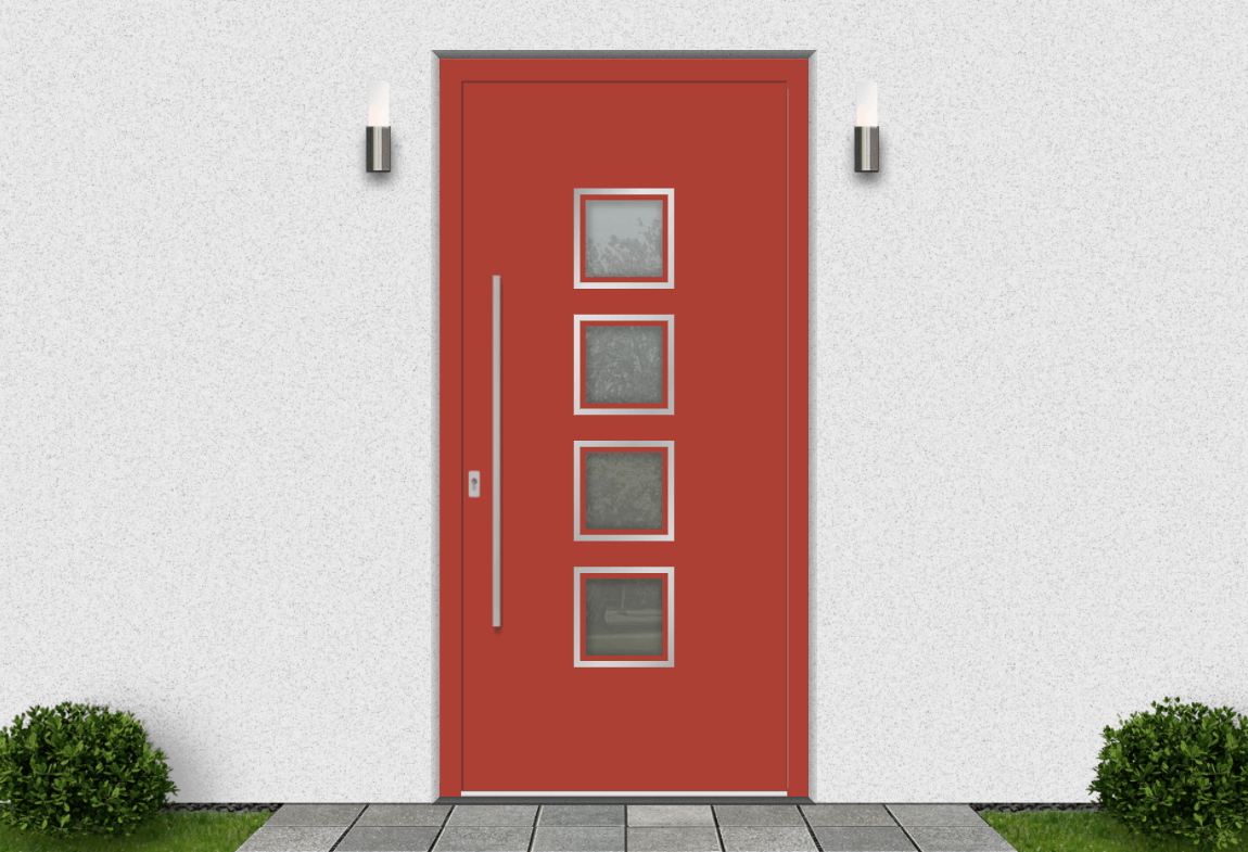 Hliníkové vchodové dvere vo farbe korálová červená RAL 3016