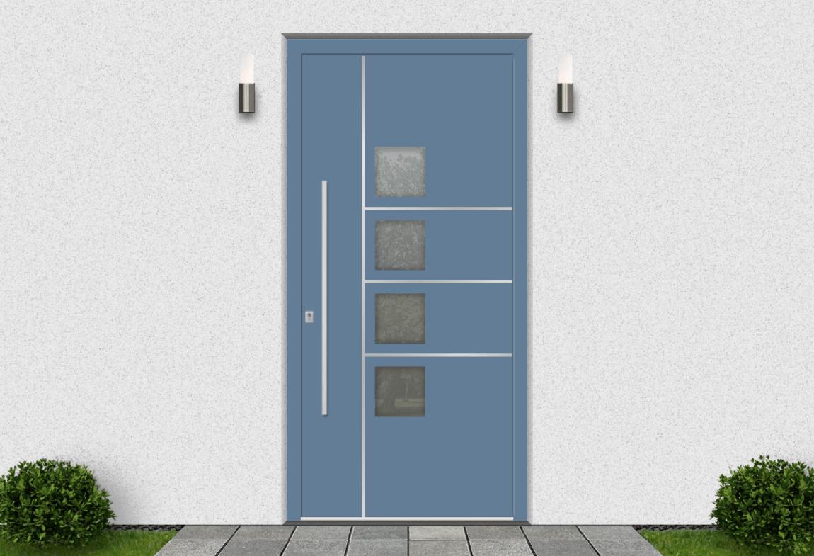 Hliníkové vchodové dvere vo farbe holubia modrá RAL 5014