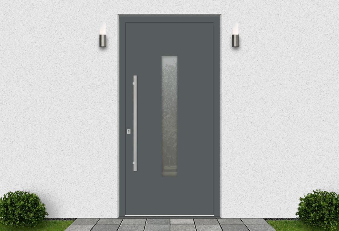 Hliníkové vchodové dvere vo farbe čadičová šedá RAL 7012