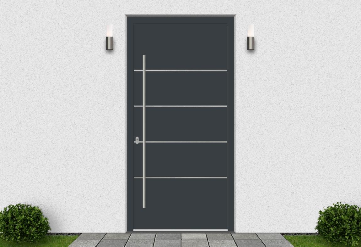 Hliníkové vchodové dvere vo farbe antracitová šedá RAL 7016
