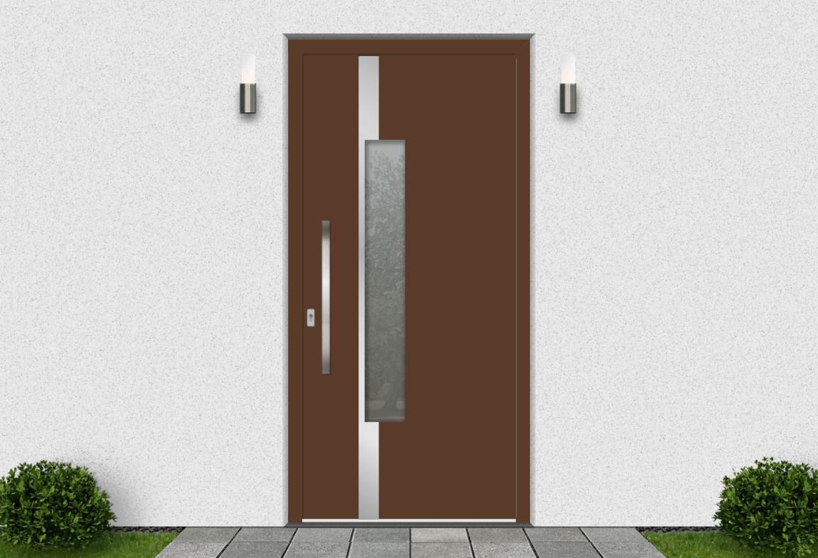 Hliníkové vchodové dvere vo farbe oriešková hnedá RAL 8011