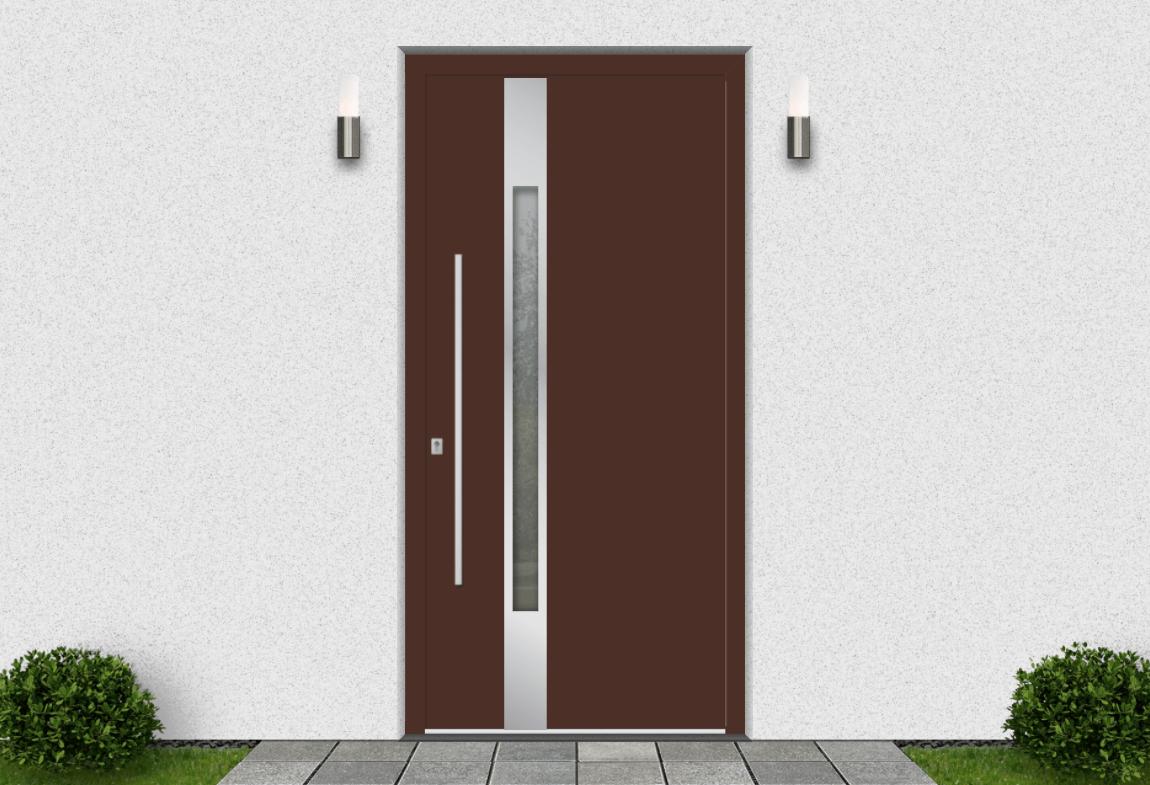 Hliníkové vchodové dvere vo farbe mahagónová hnedá RAL 8016