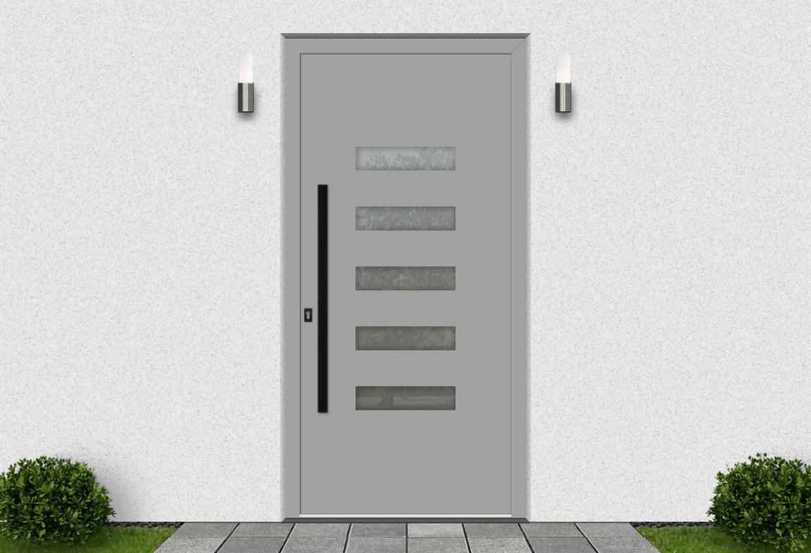Hliníkové vchodové dvere vo farbe biely hliník RAL 9006