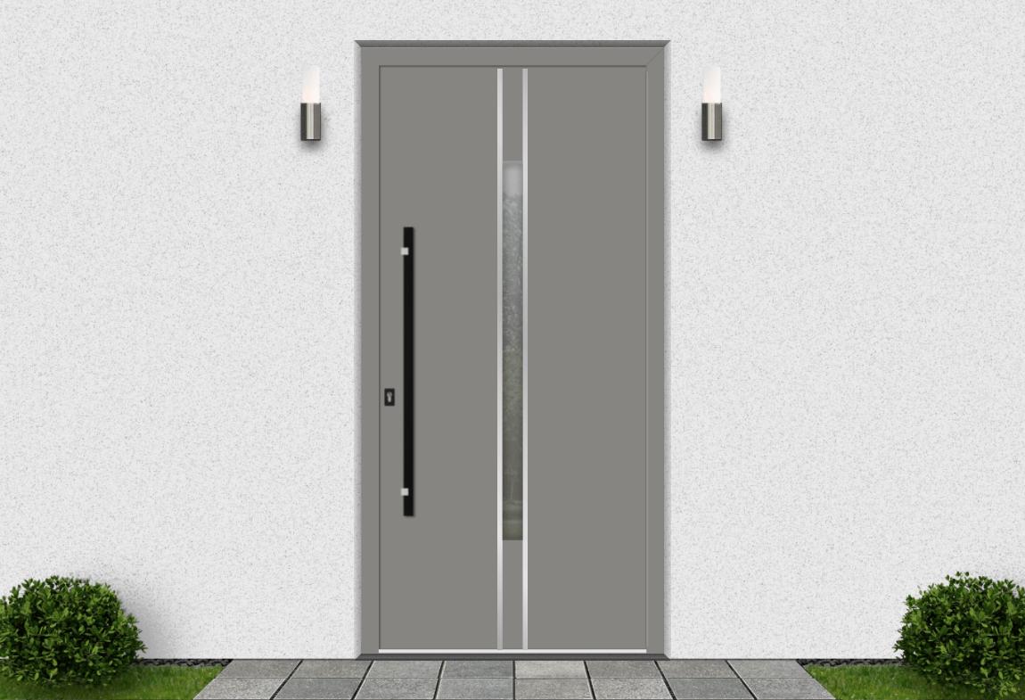 Hliníkové vchodové dvere vo farbe šedý hliník RAL 9007