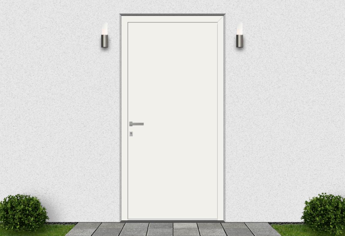 Hliníkové vchodové dvere vo farbe dopravná biela RAL 9016